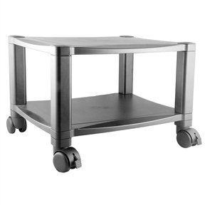 This Sturdy 2-Shelf Mobile Printer Stand Cart in Black with Locking Casters has set the standard for superior design and construction, a high degree of flexibility and responsiveness to the marketplace. The 2-Shelf Mobile Printer Stand features reinforced shelves that are constructed to accommodate most laser or inkjet printers up to 75 pounds. The height adjusts in 1.25 inch increments for personal comfort level. Each stand has 4 swivel casters for easy mobility and sturdy metal back brackets for support and safety. Great for use at the office or in the home, the 2-Shelf Mobile Printer Stand provides the versatility needed to make your workday run more smoothly.