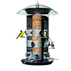 2-in-1 Triple Tube Squirrel Baffle Bird Feeder, B21TF4495 :  Amp up your bird-viewing pleasure with this 2-in-1 Triple Tube Squirrel Baffle Bird Feeder. Thoughtfully designed, this hanging feeder attracts everything from cardinals, chickadees, doves, finches, and flickers to grackles, grosbeaks, jays, juncos, and kinglets--even siskins, sparrows, wrens, and woodpeckers. The list goes on. This sleek feeder makes a lovely addition to any personal collection or a thoughtful housewarming or holiday gift idea for the novice or experienced bird lover on your list. Triple tube can dispense three types of seed at one time; Translucent plastic squirrel baffle dome and seed tray are included - seed ports and perches are metal; Clear, shatter-proof plastic reservoir makes it easy to monitor seed levels.