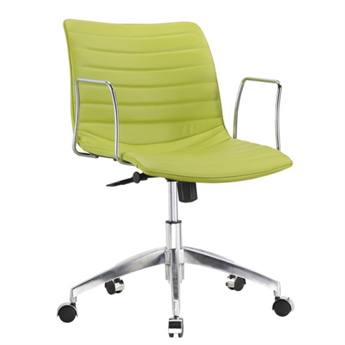 This Green Faux Leather Modern Mid-Back Office Chair with Curved 26.7 inch Wide Seat is a durable chair made for the modern office. These caster bases provide easy mobility. Its slim arm rests give you comfort for your arms while keeping the chair compact. Chair is height adjustable making it fit just right for you.