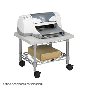 Put it under for extra space saving! This Under Desk Printer Stand Cart with Paper Shelf and Locking Casters is complete with a steel frame and laminate top that provide ample space for most printers and fax machines. The stand simply slides under a desk when not in use-great for the cubicle or home office. The sturdy steel wire shelf is ideal for storing extra paper or supplies. Mobile on four swivel casters (2 locking).