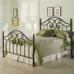 Whimsical decorative detail and delightful scroll work give this Queen size Metal Poster Bed with Headboard and Footboard in Autumn Brown a traditional flavor with modern sensibilities. The vertical spindles beautifully offset the curved, flowing lines of the bed. This bed will add style and sophistication to your decor. Does not include linens and mattress; 10 year manufacturer limited warranty on brass, plated brass, painted metal or finished wood components.