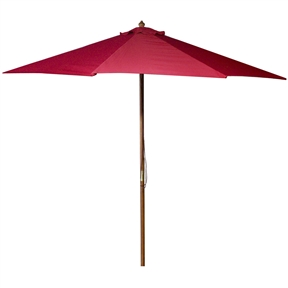 9-Ft Wooden Patio Umbrella with Pulley and Red Polyester Canopy, RMU3915815 :  This 9-Ft Wooden Patio Umbrella with Pulley and Red Polyester Canopy would be a great addition to your home. We recommend to take inside during extreme weather to avoid damage. To clean use a mild soap and water solution. Material: 160G Polyester / Wood frame; Spun polyester canopy; Maintenance free; Fabric is designed to withstand up to 500 hours of direct sunlight. Not intended for Commercial Use, only warrantied for 500 hours of direct sunlight for commercial use.