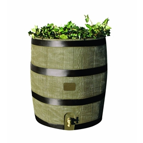2-in-1 Rain Barrel Planter, RTDRBP2135:  This 2-in-1 Rain Barrel Planter would be a great addition to your home. Embrace nature's solution to our emerging water shortage-collect rainwater. Our authentic oak barrel texture is molded into each barrel and will not fade, rot or risk insect infestation. The rts accents rain barrel has many unique features including a built in planter, linkable to other rain barrels for increased capacity, screen to keep out debris and insects, and a shut off valve for hose hook up with dual overflow. 35 gallon capacity, deco. Will not fade, rot or risk insect infestation.