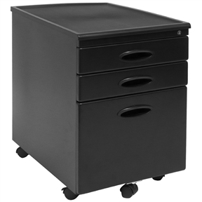 This Black 3-Drawer Locking Mobile Filing Cabinet with Casters is compact and safe option for business or home offices where space is limited. The full file drawer keeps your documents organized and accommodates letter or legal size files. Two drawers above provide additional storage space. Five wheel casters (one under file drawer for stability) create easy mobility. Fits under most desks. This convenient file cabinet locks to keep your business private. Ships fully assembled (except for casters). Available in Black/Black, Pewter/Black, and Silver/Black.