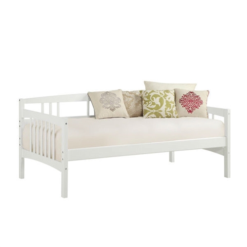 Twin size Traditional Pine Wood Day Bed Frame in White Finish: Product Code: TWDB54894151 : This Twin size Traditional Pine Wood Day Bed Frame in White Finish is a versatile piece of furniture that can cover both seating and sleeping needs. Featuring clean lines with a beautiful finish, this daybed will blend in with most any decor. You can use it plain or dress it up with decorative pillows for an added stylish touch. Its solid wood frame makes it sturdy and durable, while the wooden slat details add a classic touch. A box spring is not required, and the mattress is sold separately. You can use this wooden daybed to provide extra sleeping accommodations for guests. It will work well in a guest room, den or in a small living space because of its compact size. The Twin size Traditional Pine Wood Day Bed Frame in White Finish can also accommodate a trundle or allow for extra storage space underneath. Functional piece can be used either as a bed or as extra-deep seating; Solid wood frame; Can accommodate a trundle (sold separately) or allow for extra storage; 9 Slats; Perfect for use in a guest room or den; Twin size mattress /trundle would fit; The daybed is compatible with a twin sized mattress; Includes the twin part of the daybed; You can use a pop up trundle with this bed; Material Pine wood; No particular trundle bed for this daybed; Daybed will hold up to daily use; Frame Material: Wood; Mattress Included: No; Daybed Weight Capacity: 225lbs; Eco-Friendly: Yes; Country of Manufacture: Vietnam; Product Warranty: 1 Year limited warranty.