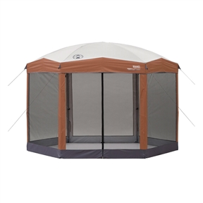 Instant 12ft x 10Ft Hexagon Screened Canopy Gazebo with Removable Insect Screen, C12X106515818 :  This Instant 12ft x 10Ft Hexagon Screened Canopy Gazebo with Removable Insect Screen provides an easy, convenient screened shelter in the backyard, at a campsite, sporting event, or wherever you need reliable cover from the sun. The Shelter's sturdy, one-piece steel frame sets up quickly and easily in only three minutes, with this exclusive push-button release levers so your fingers stay safe during setup and takedown. The heavy-duty shelter canopy gives you an instant hex-shaped shelter with a generous center height of eight feet, four inches and also features SPF 50+ UV Guard protection from the sun's rays. The removable screen wall keeps insects out and features two doors for convenience.  Sturdy 28mm one-piece steel frame; Exclusive push-button release levers take it easy on fingers; Hexagon shape for a distinct shelter; Wheeled carry bag; Footed poles for easy securing and stabilization with steel tent pegs; Sets up in three minutes and three steps; Protection from the sun, wind and bugs; Two large T-doors, entry from back and front; Loops keep doors open, zippers keep them shut; Vaulted ceiling for more room for taller guests;  UVGuard(TM) technology helps block the sun's harmful rays; Comfort grips lock shelter into place with pinch-free adjustability.