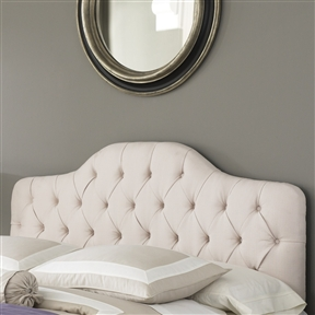 This King size Button-Tufted Upholstered Headboard in Ivory Color combines soft, sweeping curves with straight lines to create an enduring transitional style. The button-tufted tailoring, so common to French decor and the simple, sophisticated fabric, work together to marry traditional and contemporary designs. Product Care: Frequently vacuum or brush to remove dust, spot clean using a mild water-free solvent or dry cleaning agent. CPSIA or CPSC Compliant: Yes; CARB Compliant: Yes; ISTA 3A Certified: Yes; Hardware Finish: Ivory; General Conformity Certificate: Yes; Frame Material: Wood. Non-Toxic: Yes; Adjustable Height: Yes; Finished Back: Yes; Frame Required: Yes; Drill Holes for Frame: Yes. Upholstery Material: Polyester/Polyester blend; Upholstery Fill Material: Foam; Tufted: Yes.