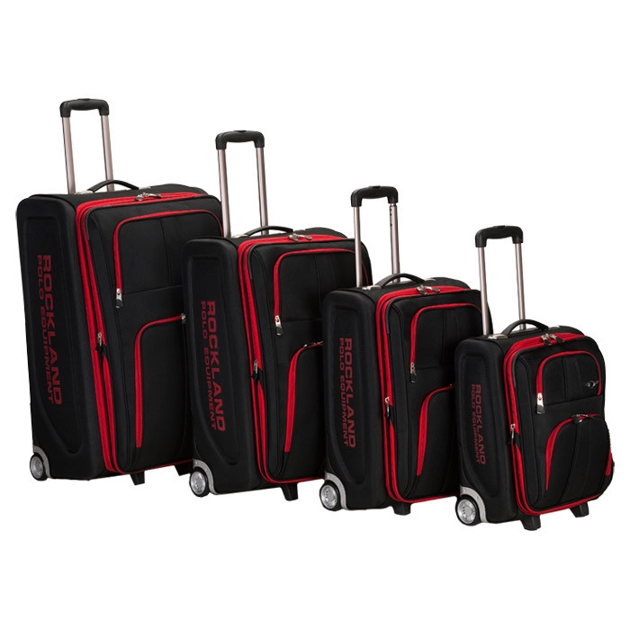 Rockland 4PC EVA LUGGAGE SET, BLACK with Red Trim, FL139BR :  Travel in style with this 4 pc, luggage set, eva molded body with 1200 denier polyester fabric for durability, bags are lightweight, fully lined and have heavy duty in line jumbo wheels, feature retractable push button aluminum handles, two secured zippered front pockets, set includes a 30 inch upright measures 30 inch x 20 inch w x 12 inch, 26 inch upright measures 26 inch x 18 inch w x 11 inch, 22 inch upright measures 22 inch x 16 inch w x 10 inch, and 18 inch upright measures 18 inch x 14 inch w x 9 inch. Lightweight and durable; Fully lined and have heavy duty in-line jumbo wheels; Retractable push button aluminum handles; Two secured zippered front pockets; Constructed of 1200 denier polyester.