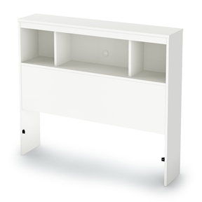 This Twin size Modern Bookcase Headboard in White Wood Finish has generous open storage areas provide easy access to books, plants and other items, and holes for cable management provide organization of wires from a phone, chargers or other electronic devices. Also available in Chocolate or Pure Black finishes. Manufactured from CARB compliant composite wood carrying the Forest Stewardship Council (FSC) certification laminated.