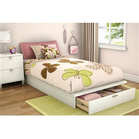 This Twin size Contemporary Platform Bed with Storage Drawer in White would be a great addition to your home. It has a pure white finish and is made of non-toxic materials. Bed Type: Platform Gender: Unisex; Style: Contemporary; Assembly Required: Yes; FSC Certified: Yes; Product Warranty: 5 Year limited warranty. CPSIA or CPSC Compliant: Yes; CARB Compliant: Yes; ISTA 3A Certified: Yes; Weight Capacity: 250 Pounds; Country of Manufacture: Canada