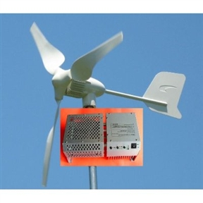 450-Watt 12-Volt 3-Blade Home Wind Generator Kit, WM450W12VWGK :  This 450-Watt 12-Volt 3-Blade Home Wind Generator Kit is Our high performance, reliable WindMax wind turbine features advanced electromagnetic over speed control, aerodynamic blade speed limitation, solar/wind dual output capability, reliable light weight generator design using die-casting technique and high performance rare earth neodymium magnets, advanced airfoil designed blades made of mixed nylon and reinforced fiber glass using injection molding and thermoplastic technologies for consistency, high strength. HYenergy Windmax Wind Turbines are the one of the most well built, reliable, most efficient and cost-effective small wind turbines available on the market today. The HYenergy Wind turbine system is the perfect choice in a smart investment for a renewable energy solution built on advanced technologies. The HYenergy wind turbine system defines a new level of superior performance and reliability in the small wind turbine industry. Brushless, strong Neodymium magnet PMA, unique winding and multi pole design reduce the start-up torque of the alternator to assure the HYenergy wind turbine have great performance at low wind speed. Designed with both reliability and performance in mind, HYenergy Wind Turbines feature maintenance free design, high reliability and consistent performance. The result: greater energy production yield for all wind speeds and lowest ownership cost. A small home wind turbine is a long term investment. Windmax H series wind turbines lead the small wind turbine industry by eliminating problematic mechanical furling over speed control which requires a lot of maintenance and causes wind turbine failure. Windmax H series wind turbine improves the reliability and performance by advanced electromagnetic speed limitation supplemented by aerodynamic speed limitation by blade deformation. Electromagnetic braking is used in combination with Aerodynamic braking to reduce the rotational 