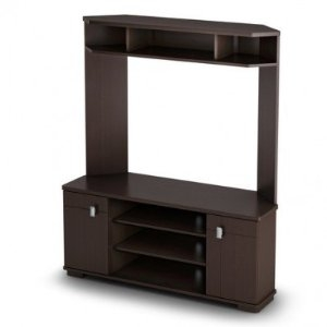 This Corner TV Stand Entertainment Center in Chocolate Finish is designed to accommodate televisions up to 50-inch. It features open and closed compartments with black metal finish handles. The open space for the TV is 44-inch wide by 16-inch deep front to back by 29-1/2-inch high. Measures 47-3/4-inch wide by 16-3/4-inch deep front to back and 57-3/4-inch high. Delivered in one box that measure 57-3/4-inch long by 20-1/4-inch wide by 8-inch high and weight 104-pound.
