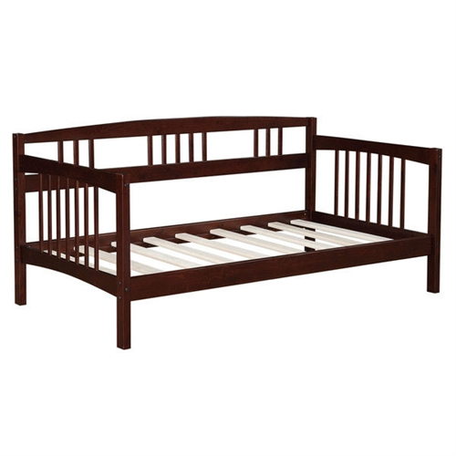"This Twin size Solid Wood Day Bed Frame in Espresso Finish is a versatile piece of furniture that can cover both seating and sleeping needs. Featuring clean lines with a beautiful finish, this daybed will blend in with most any decor. You can use it plain or dress it up with decorative pillows for an added stylish touch. Its solid wood frame makes it sturdy and durable, while the wooden slat details add a classic touch. A box spring is not required, and the mattress is sold separately. You can use this wooden daybed to provide extra sleeping accommodations for guests. It will work well in a guest room, den or in a small living space because of its compact size. The Twin size Solid Wood Day Bed Frame in Espresso Finish can also accommodate a trundle or allow for extra storage space underneath. Includes the twin part of the daybed; You can use a pop up trundle with this bed; Space under the bed: 12.9""; Material Pine wood; No particular trundle bed for this daybed; Daybed will hold up to daily use;  Style: Traditional."