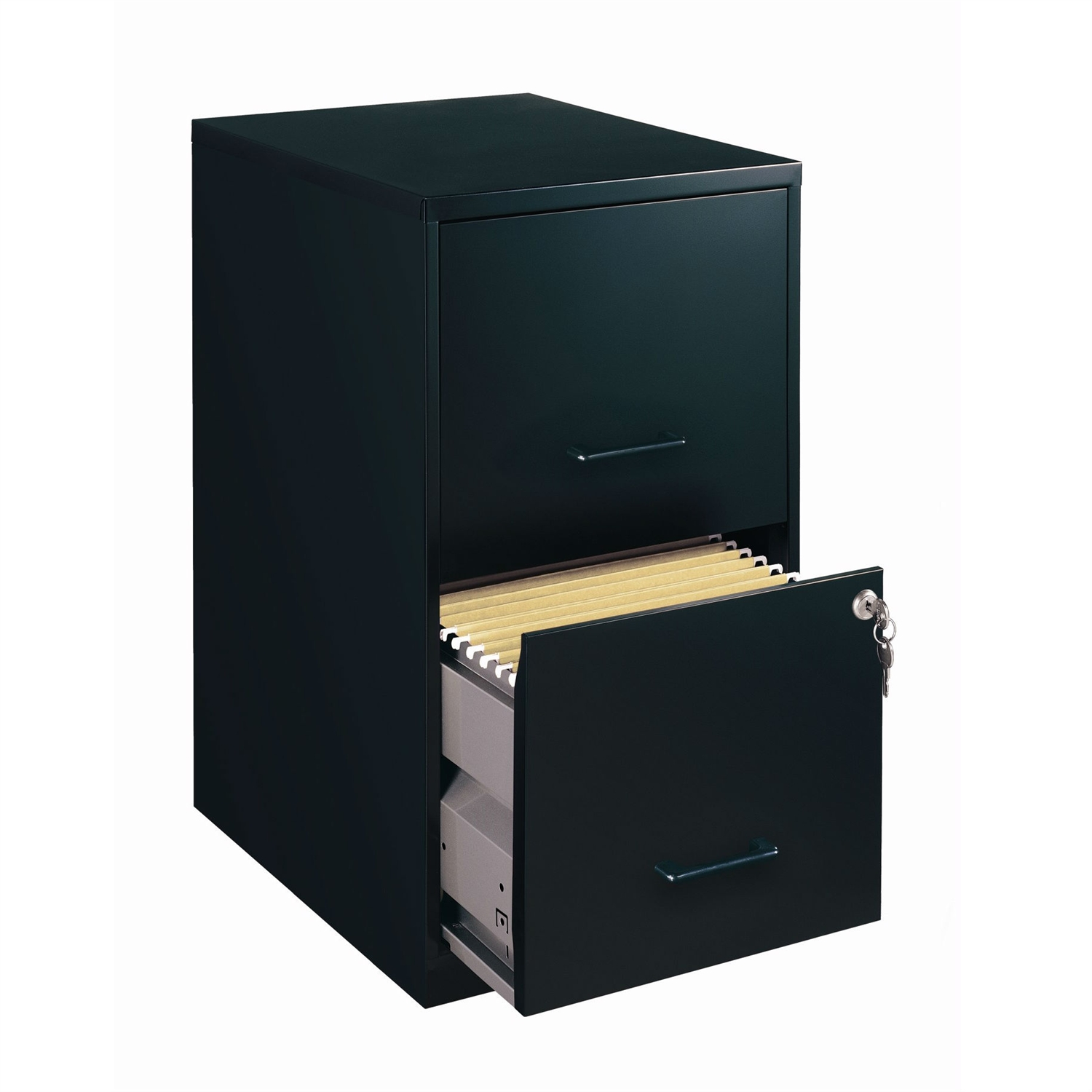 This Black Metal 2-Drawer Vertical Filing File Cabinet - Made in USA would be a great addition to your home. It has a steel construction and a glide suspension. High-side drawers; Glide suspension; Universal lock.