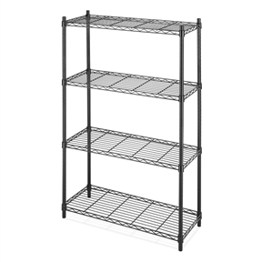 4-Shelf Black Metal Wire Shelving Unit - Each Shelf Holds up to 350 lbs, WS4TSU56981: This 4-Shelf Black Metal Wire Shelving Unit - Each Shelf Holds up to 350 lbs is the perfect storage solution for any room in your home, office, or business. Each shelf can accommodate up to 350 lbs. when weight is evenly distributed. Adjustable shelves allow you to change the configuration as your storage needs evolve. The no-tool assembly allows you to construct this unit within minutes. Wire shelves adjustable in 1-inch increments; 10-year limited warranty; NSF Approved for all environments, including refrigerators, freezers, and ware washing areas.