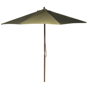 9-Foot Outdoor Patio Umbrella with Wood Frame and Natural Beige Canopy, NBH789651 :  This 9-Foot Outdoor Patio Umbrella with Wood Frame and Natural Beige Canopy would be a great addition to your home. We recommend to take inside during extreme weather to avoid damage. To clean use a mild soap and water solution. Material: 160G Polyester / Wood frame; Spun polyester canopy; Maintenance free; Fabric is designed to withstand up to 500 hours of direct sunlight. Not intended for Commercial Use, only warrantied for 500 hours of direct sunlight for commercial use.