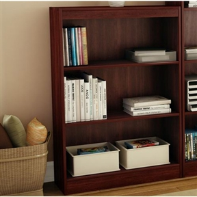 Ideal for your binders, books or decorative items, this 3-Shelf Bookcase in Royal Cherry - Made from CARB Compliant Particle Board can meet your every need. Its warm royal cherry finish and refined lines harmonize seamlessly with virtually any decor. Both functional and attractive with its sleek contemporary styling, this bookcase is sure to enhance the look of any room in your home. Contemporary style; Three fixed shelves; Functional and attractive; Assembly required; Manufacturer provides 5 year warranty against furniture defects or workmanship.