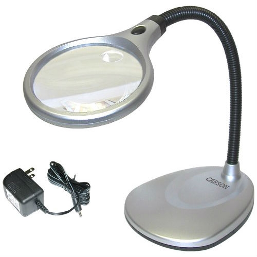Want to take a closer look at the rock you found at the beach? Need a close-up of your favorite collectible? Turn to the LED Illuminated 2X Magnifying Glass / Desk Lamp, which includes two super-bright LED lights and a crystal-clear 4-inch acrylic lens. The lens offers 2x magnification--perfect for most applications--and a 5x power spot lens for when you need a serious close-up. The lamp also sports a flexible neck, so you can position the magnifier exactly where you need it. Ideal for hobbyists, the DeskBrite 200 plugs into any standard outlet or can be powered with three AA batteries (not included).