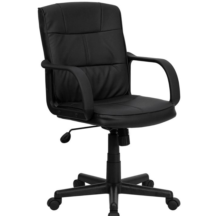 This Black Mid-Back Polyurethane & Leather Office Chair with Nylon Arms will provide you with the comfort needed for browsing the internet. The mid-back design makes it a perfect desk chair especially for smaller work spaces, but still doesn't compromise on its appeal and features. Tilt Tension Control Knob; Upright Tilt Lock; Pneumatic Seat Height Adjustment; Textured Nylon Arms; Heavy Duty Nylon Base; Dual Wheel Casters; Black LeatherSoft Upholstery; LeatherSoft is leather and polyurethane for added Softness and Durability; CA117 Fire Retardant Foam.