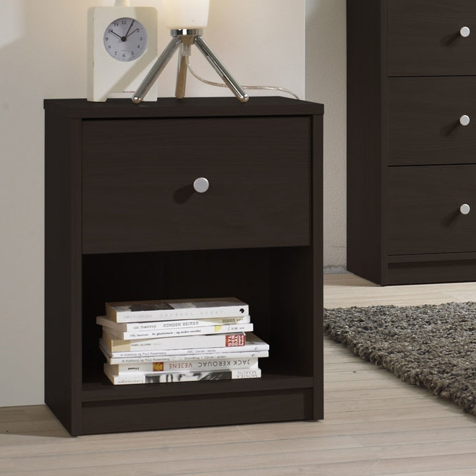 This Modern 1-Drawer Bedroom Nightstand in Dark Brown Wood Finish would be a great addition to your home. It has a contemporary style and a coffee wood finish. Clean with damp cloth; ISTA 3A certified; Coffee finish; Style: Modern. Number of Drawers: 1; Exterior Shelving Included: Yes; Distressed: No; Country of Manufacture: Denmark.
