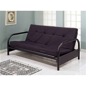 You are looking at a brand new Contemporary Black Metal Futon Frame in modern round tubing design with armrest. This is a strong and durable futon frame that is built to last. With the convenience of a couch/sofa, the futon opens up to become a full sized bed for convenient comfort. This item includes only the frame. (Requires Simple Assembly).
