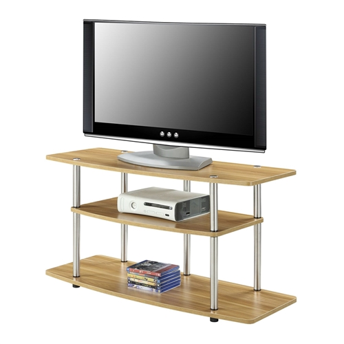 This Modern Wood Metal TV Stand Entertainment Center in Light Oak Finish is the perfect complement to any living room décor. Featuring an open modern design that allows for easy cable management. Also Featuring three spacious shelves that will give you plenty of room for all of your media components. Maximum TV Size 42 Inches. Maximum TV Weight 85 Pounds.