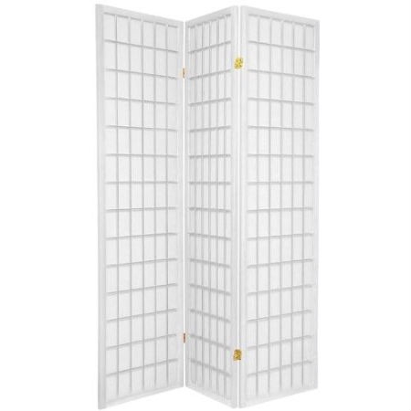 "Japanese Asian Style 3-Panel Room Divider Shoji Screen in White, WRD615643 :  This Japanese Asian Style 3-Panel Room Divider Shoji Screen in White made from translucent paper and a folding, multi-paneled, lattice-style wooden frame. The design of these dividers is light-friendly, yet provides privacy at the same time. It may be used to divide a bedroom, or define a room/space. Whether it's for home or the work place these shoji screens are versatile, and an ingenious addition to any interior, making them a must-have for modern décor. These screens also feature a double action hinge, and fold easily for storage. No assembly is required. Measurement: 70"" high X 54"" wide open X 1"" deep; Made of pine wood and veneer and white shoji rice paper like."