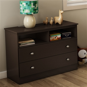 This Modern 2-Drawer Bedroom Storage Chest TV Stand in Chocolate is versatile, featuring two large drawers perfect for storing clothes or toys, and two easy-access open storage spaces. Place it under the bunk bed from the same collection or elsewhere in the bedroom for additional storage. ISTA 3A certified; (FSC) Certification; Manufactured from eco-friendly materials; 2 Wire holes in the back panel for better wire management; 5 Year warranty; Frame Material: Manufactured wood; Frame Material Details: Particle Board; Product Type: Standard dresser (horizontal); Drawer Interior Finish: Light Maple; Hardware Finish: Satin Nickel.