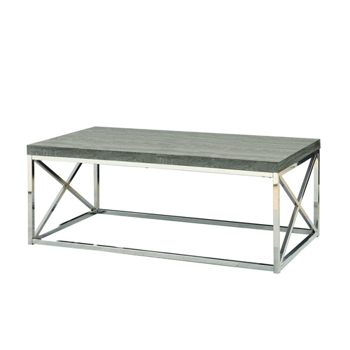 To have or not to have just isn't an option! This Modern Coffee Table with Chrome Metal Frame and Dark Tape Wood Top offers individuals a simple yet favorable way for placing drinks, snacks or meals while watching TV or chatting on the sofa. Its fashionable curved chrome metal base and dark taupe reclaimed wood-look top provide exceptional support to this must-have piece!