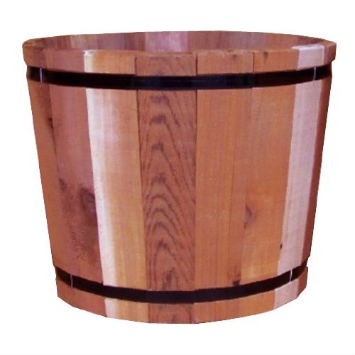 18.5-inch Outdoor Barrel Planter in Cedar Wood - Made in USA, OBPC3498 :  This 18.5-inch Outdoor Barrel Planter in Cedar Wood - Made in USA is quality constructed in the USA with rot-resistant Western Red Cedar harvested from sustainable forests. Western Red Cedar weathers naturally so there is no need to stain or paint for sustainability - just for esthetics to fit your decor. The planters tighten naturally when filled with dirt and water so no liner is needed. The planter also includes a recycled no-rot plastic bottom to ensure proper drainage. Planters are perfect for growing flowers, fruits, vegetables, and herbs and are great for accenting any outdoor landscape or outdoor living area.