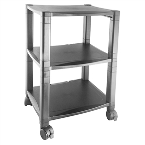 This 3-Shelf Mobile Printer Stand with Organizer Drawer in Black features reinforced shelves that are constructed to accommodate most laser or inkjet printers up to 75 pounds. A built-in organizing drawer is the answer to all of those stray supplies all over the place. The height adjusts in 1.25 inch increments for personal comfort level. Each stand has 4 swivel casters for easy mobility and sturdy metal back brackets for support and safety. Great for use at the office or in the home, the 3-Shelf Mobile Printer Stand with Organizing Drawer provides the versatility needed to make your workday run more smoothly.