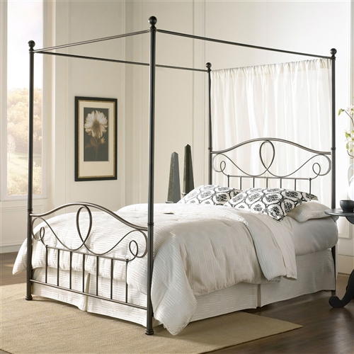 Sleep never looked as simply pleasing as it does with this Full size Complete Metal Canopy Bed with Scroll-work and Ball Finials. With a sturdy metal frame, this bed combines a looping scroll design with straight spindles and ball finials. Plus, the yummy French Roast finish nearly gleams, thanks to the three-step process that includes a brushed gold coat over black. You can order the headboard only, the headboard with bed frame, or the complete canopy bed, which includes the headboard, frame, footboard, and canopy. Just pick your size, add your own mattress and box spring, and you're set for sweet slumber.