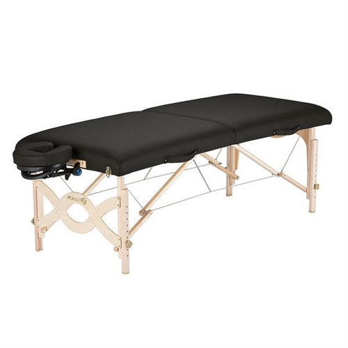 This Black Natursoft Upholstered Portable Massage Table with Headrest and Carry Case is the ideal solution for all those who are looking to bring the professional massage experience into the privacy and convenience of their homes. It features 1000 lbs. aircraft grade support cables that are made from heavy duty steel. This makes the table long lasting and durable, and extremely stable as well. It has a decking made of Russian birch plywood, and has hardwood reinforcing ribs. It has a full length piano hinge. The Black Natursoft Upholstered Portable Massage Table with Headrest and Carry Case is available in various colors, so you can choose the one that best serves your needs. Patent pending Flex-Rest Self-adjusting face cradle with Form-fit memory cushion; Heavy duty, single pocket carry case; Complete professional package; Aircraft quality Russian birch plywood decking; Hardwood reinforcing ribs; Full length piano hinge; Shiatsu release cables.