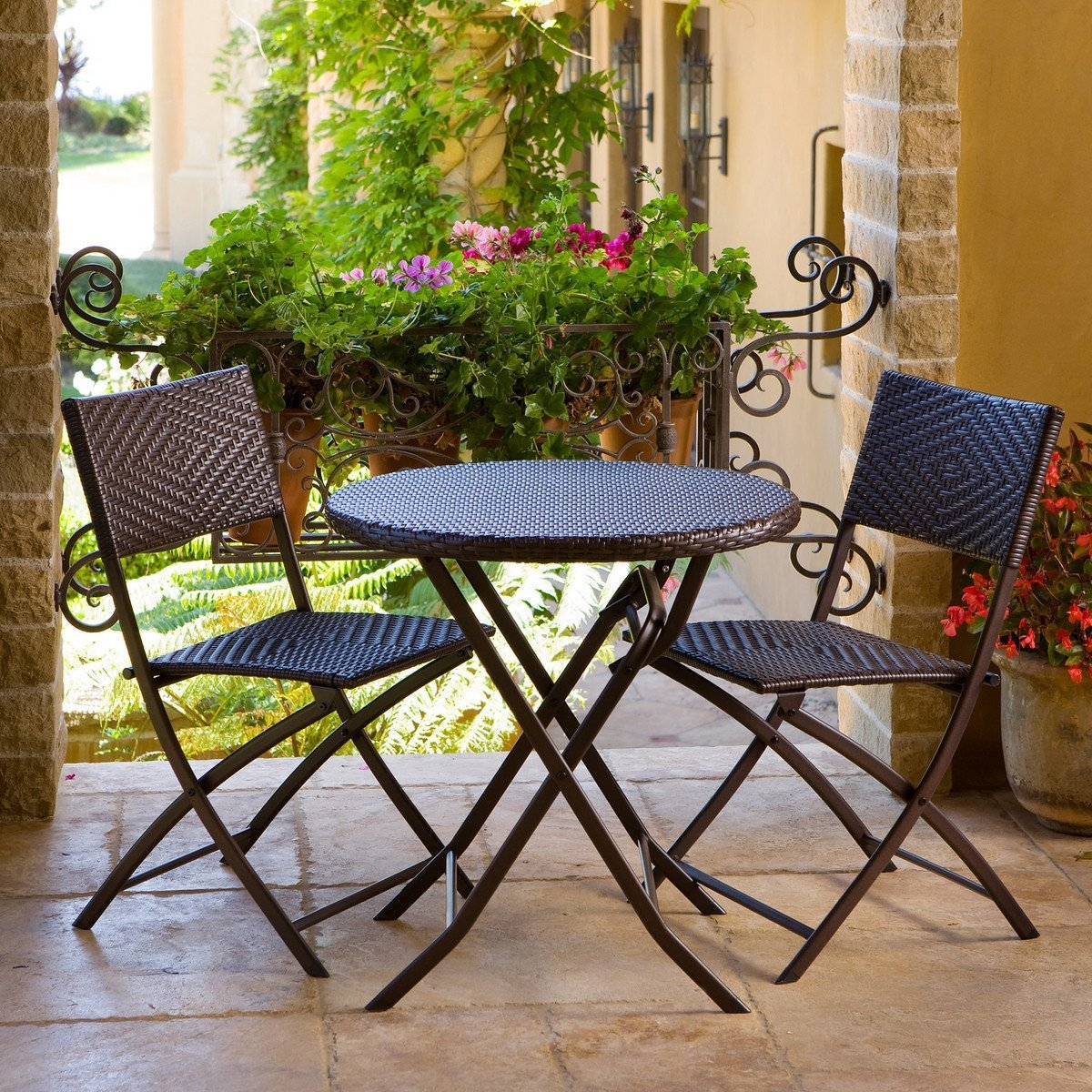 3 Piece Outdoor Bistro Patio Furniture Set in Espresso, RSP3P169 :  This 3 Piece Outdoor Bistro Patio Furniture Set in Espresso allows you to entertain with distinction and charm. Each of the three piece Bistro set collapses for easy storage or portability. The 28-inch diameter table is large enough for dining or support for elegant entertaining. The chairs are 32-inch high at the back and the seats are 18.5-inch wide and 17-inch deep and are weight rated to 275 lbs. The woven diamond pattern of the polyethylene resin rattan material is handsome in any setting and easy to clean with mild soap and water. The recyclable resin wicker is hand stretched over a lightweight steel frame yet durable construction. Matches the RST Outdoor Collection. Uv, weather and fade resistant holds up great in salt and chlorinated environments perfect for coastal living; Strong, lightweight steel frames