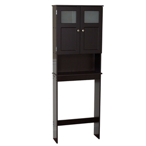 Espresso Bathroom Storage Unit Cabinet for Over the Toilet, ZWMFE76261 :  This Espresso Bathroom Storage Unit Cabinet for Over the Toilet is a free standing furniture piece that add easy storage for towels and other bathroom necessities. They conveniently fit over standard toilet tanks and are easy to assemble. This 66-1/2-Inch tall unit features paneled doors with a frosted, tempered glass window that conceals a large storage space 7-Inches deep. Made in the USA from engineered wood, this cabinet is built to withstand a humid environment. The espresso color laminate finish and brushed chrome door pulls wipe clean simply with a damp cloth. Easy assembly instructions with illustrations are enclosed along with a wall anchor strap, recommended for safety.