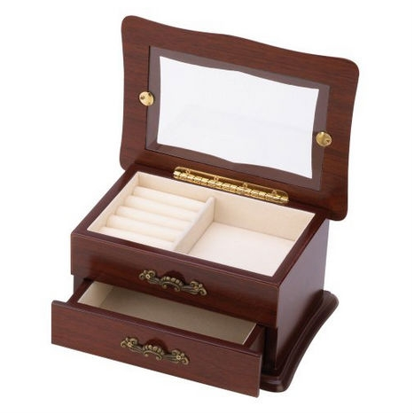 "Glass Window Top Keepsake Jewelry Box in Medium Brown Wood Finish, KWJB153515 :  Find your favorite jewelry in seconds with this unique keepsake box with see-through window! An elegant addition to your vanity or dresser, this beautiful chest features rich fabric lining throughout and special organizer section for earrings, rings and other small treasures. Weight 1.8 lbs. 7 7/8"" x 5 5/8"" x 4"" high. Wood and glass window."