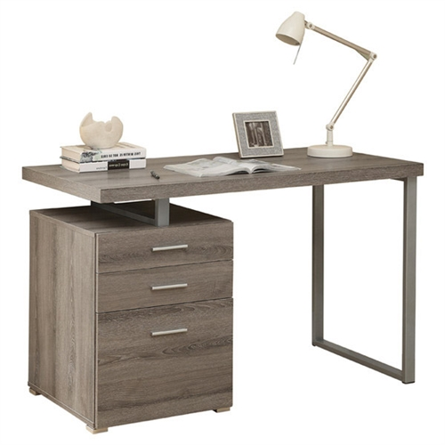 Small in scale yet big on functional and style, this Modern 48 in. Reclaimed-Look Left or Right Facing Office Desk is a smart addition to your space. This laptop computer desk comes in your choice of available finishes to match your style. Its work space may be configured on the left or right side to maximize functionality. It includes three generous drawers to keep your home office space tidy.