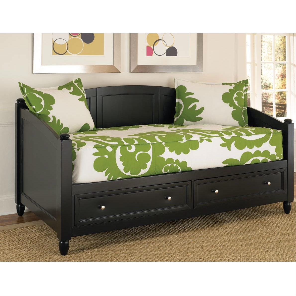 Twin size Black Wood Contemporary Daybed with Storage Drawers: Product Code: HSBD72628 : This Twin size Black Wood Contemporary Daybed with Storage Drawers would be a great addition to your home. It has two large storage drawers and a contemporary style. Recessed drawer fronts and brushed nickel hardware; Two large storage drawers; Solid wood slats for strength and stability; Style: Contemporary Assembly Required: Yes; Tools Needed for Assembly: Phillips screwdriver; Product Warranty: Vendor replaces parts for 30 days; Finish: Black Hardware; Finish: Brushed nickel hardware; Frame Material: Wood; Number of Items Included (Storage Accessories): 1; Number of Items Included (Storage and Chest Accessories): Includes 2 items: Daybed and chest; Number of Items Included (Storage and Expan-Desk Accessories): Includes 2 items: Daybed and expand-a-desk. Non-Toxic: Yes; Back Included: Yes; Arms Included: Yes; Drawers Included: Yes; Number of Drawers: 2; Number of Drawers: 6; Number of Drawers: 6.