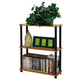 This Light Cherry and Black Finish 3-Tier Bookcase is designed to meet the demand of low cost but durable and efficient furniture. It is proven to be the most popular furniture due to its functionality, price, and the no hassle assembly. The materials comply with e1 grade particle board for furniture. There is no foul smell of chemicals, durable and it is the most stable particleboard used to make furniture. Care instructions: wipe clean with clean damped cloth. Avoid using harsh chemicals. We are pleased to send you the replacement part free of charge. Pictures are for illustration purpose. All decor items are not included in this offer. Pictures are for illustration purpose. All decor items are not included in this offer.
