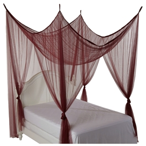 4-Post Bed Canopy in Burgundy - Fits all size Beds: Product Code: H4PBC3238 : This 4-Post Bed Canopy in Burgundy - Fits all size Beds would be a great addition to your home. Multifunctional Net Bed Canopy. Functional mosquito net keeps small insects out; 100-Percent polyester sheer netting; Fits all bed sizes; dry cleaning recommended.