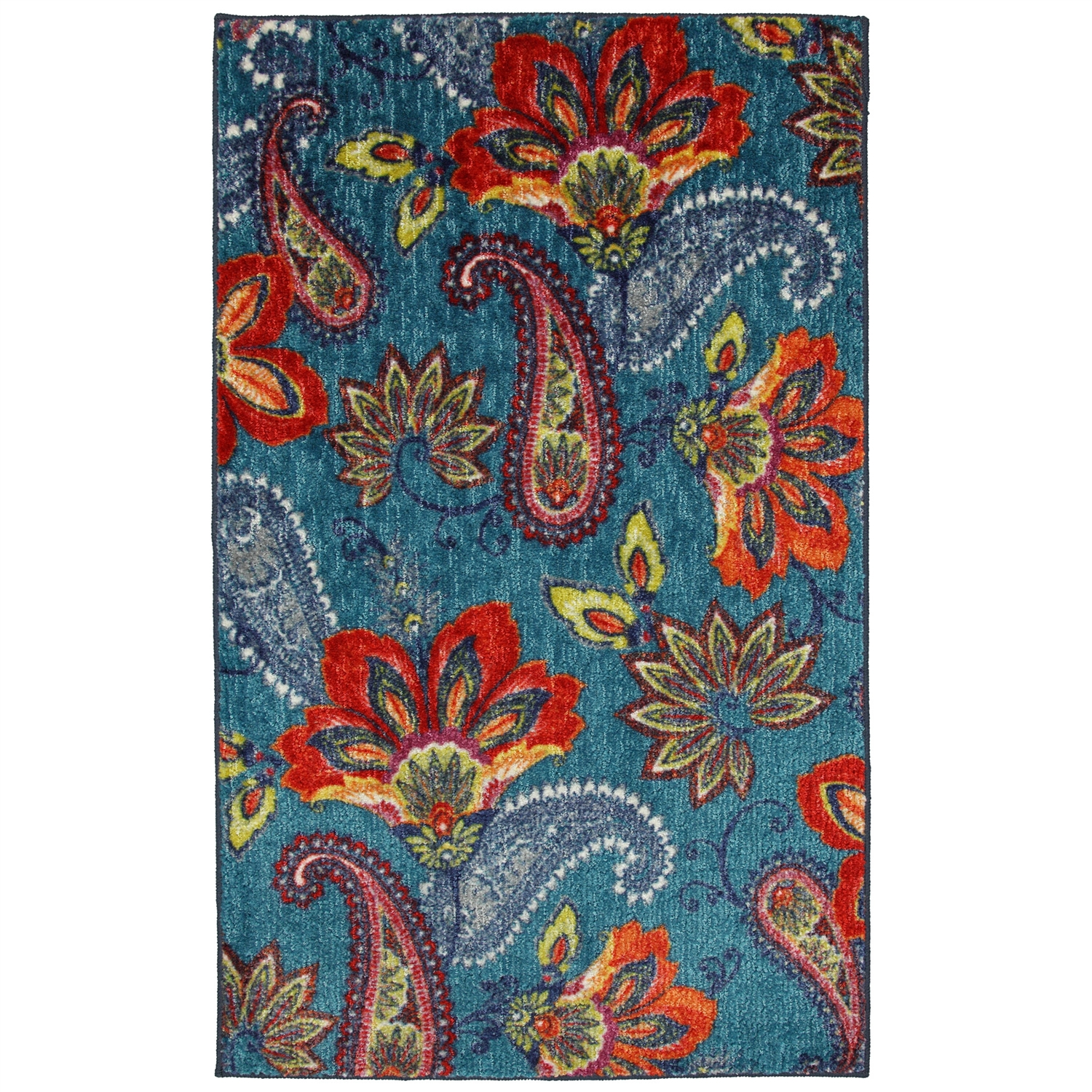 5' x 8' Floral Paisley Area Rug in Blue Teal Red Orange - Made in USA, NWMR5X8839 :  Cutting edge and beautifully designed, this 5' x 8' Floral Paisley Area Rug in Blue Teal Red Orange - Made in USA is an explosion of color and style. Meant for a bold impact, this design creates a vivid center point for your design. Printed on the same machines that manufacture one of the world's leading brands of printed carpet, this rug is extremely durable and vibrant. This technology allows the use of multiple colors to create a rug that is wonderfully designed and applicable to any room in your home. Action backing; Area rugs should be spot cleaned with a solution of mild detergent and water or cleaned professionally; Regular vacuuming helps rugs remain attractive and serviceable; Primary Pattern: Floral And Plants; Primary Color: Multi Colored; Material: Synthetic; Country of Manufacture: United States.
