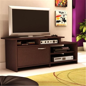 "This 52-inch Modern TV Stand in Chocolate Finish trendy asymmetrical design will give your living room a brand new look. It features both easily accessible open storage spaces and a more discreet closed compartment. It can accommodate televisions of up to 42"", depending on the type of screen (please be sure to measure your TV's dimensions). Environmentally Preferable Product (EPP) certification –Already meeting the very strict 2009 California Formaldehyde Regulations; Greener communication tools – Reduced format on recycled paper and conversion to electronic format. A Green Future in mind: a member of the Composite Panel Association whose mission is to work towards more ecological and environment-friendly panel solutions. Step One collection."