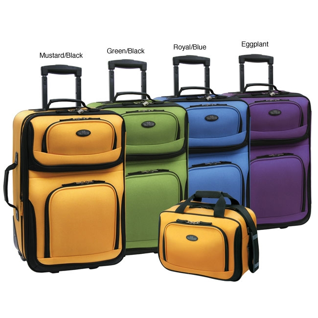 2-Piece Expandable Carry-On Luggage Set, USTR2PECOL399 :  This 2-Piece Expandable Carry-On Luggage Set features interior deluxe retractable push-button, self-locking handle system. Also, has 2 inline skate wheels with corner protectors. Travel in style with a U.S. Traveler RIO two-piece expandable luggage set; Luggage is crafted of sturdy and luxurious superior 1200D rigid polyester; Two-piece set features interior deluxe retractable push-button, self-locking handle system. Expandable for 25-percent more packing capacity; EVA-padded front panel for extra durability; Multiple front pockets; Top and side carry handles; Solid metal hardware; Large zippered mesh lid pocket; Dual adjustable tie down straps; Full interior lining; Fits overhead compartment; Available in mustard, green or royal blue color options; Black trim.