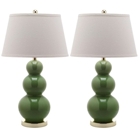 Balance fashion, form and function with this Set of 2 - Fern Green Ceramic Table Lamp with White Cotton Shade, its three beautifully turned fern green ceramic gourds graduating in size. With brushed gold stand and fittings and crisp white cotton tapered shade, Pamela adapts beautifully to any setting.