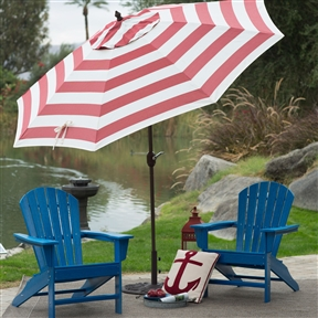 Outdoor 9-Ft Metal Patio Umbrella with Tilt and Crank Lift in Red and White Stripe, YHFTGBD184 :  Spending time outdoors just got better with this Outdoor 9-Ft Metal Patio Umbrella with Tilt and Crank Lift in Red and White Stripe. This beautiful umbrella features a crank lift aluminum pole and ribs which are finished in a powder-coated bronze for added longevity. Continue moving the crank to use the auto-tilt feature to easily adjust the pitch of the umbrella to continually protect you from the sun. Its Olefin fabric, in your choice of gorgeous colors, is tough and hardwearing and made to last. Commercial Grade No; International Shipping Canada; Number of Ribs 8; Pole Finish Bronze; Pole Material Aluminum; Tilt Auto; Umbrella Shape Round; Warranty 1 Year Limited.