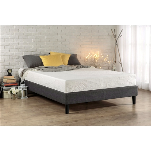 This King size Modern Grey Upholstered Padded Platform Bed Fame is a minimalistic, stylish bed base that works well with a variety of decorating styles and lets you easily update the look of your room. Top-quality grey upholstery covers this platform bed frame. A box spring is not necessary with the Essential Platform Bed as wooden slats provide strong level, support for your memory foam, latex, or spring mattress. The center metal rail and center legs add additional support. The King size Modern Grey Upholstered Padded Platform Bed Fame provides stylish and strong support for your mattress. Mattress not included.