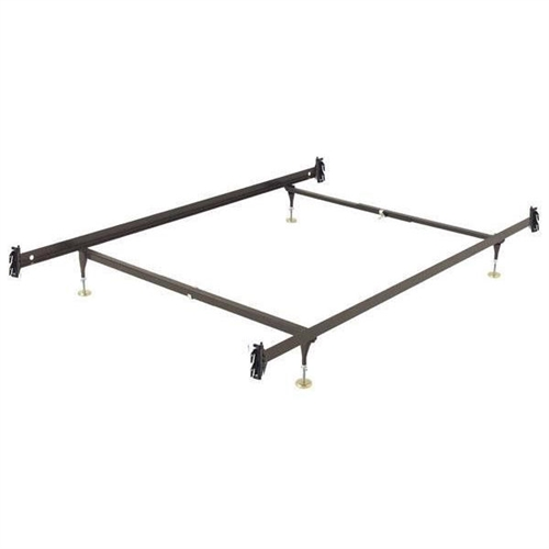 This Full size Metal Bed Frame with Hook-on Headboard and Footboard Brackets has Versatile Glide Equipped leg height, adjustable from 6.5-inch to 9-inches. C-Clamps make assembly easy and are infinitely adjustable. This frame has a Center Support System for extra support and stability. The Center Support system consists of one Center Rail with one adjustable glide equipped leg. Many mattress manufacturers require center support for queen sizes and above in order for their warranty requirements to be met. Sturdy Construction is also featured on these bed frames. The Hook-on Headboard / Footboard brackets are of heavy-duty, riveted construction. Locking legs create a triple-thick steel layer at the corners. Legs are recessed for safety. The glides are adjustable for variable bed heights.