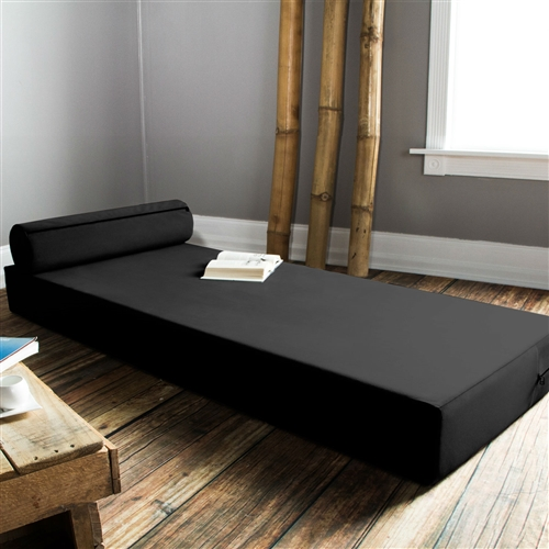 Twin size Modern Foam Daybed with Bolster Pillow in Black: Product Code: JBDBT189518 :  This Twin size Modern Foam Daybed with Bolster Pillow in Black is the transformative piece of furniture that your living space has been missing. Taking its name from one of Atlanta's multifaceted midtown neighborhoods, this caters to your every need. Use it as a comfy space for lounging, or get two and stack them atop each other as a bench. After you've spent the night out on the town and need some extra space for people to crash on, this transforms into a crash pad. The included bolster pillow is the perfect prop for afternoon naps or reading marathons, and the supremely plush twill fabric cover comes in five beautiful colors to match your taste and your space.  Stores easily under bed; Bed is made from urethane firm foam; Removable cover is machine-washable; Accented with exposed black zipper; Made with pride in Atlanta, GA; Foam Type: Polyurethane; Seating Comfort: Firm; Removable Cushions: Yes; Removable Upholstery Cover: Yes; Welt On Cushions: No; Number of Toss Pillows Included: 1; Toss Pillow Upholstery Material: Polyester/ Polyester blend; Removable Toss Pillow Upholstery: Yes; Life Stage: Adult; Teen; ANSI/BIFMA Compliant: Yes. Product Care: Machine wash cold and tumble dry low; Country of Manufacture: United States; Assembly Required: No; Product Warranty: 1 year manufacturer's warranty.