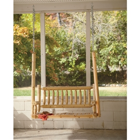 Outdoor Rustic Cedar Log Wood Porch Swing, DCLPS12901 : You'll want to have this Outdoor Rustic Cedar Log Wood Porch Swing on the ol' veranda. This 51in.W x 21 1/2in.D hanging porch swing comfortably seats two. It features sturdy natural cedar log construction, with O-rings at the ends of vertical logs that allow easy hanging with an S-hook and chain (not included). Assembly required (instructions included).