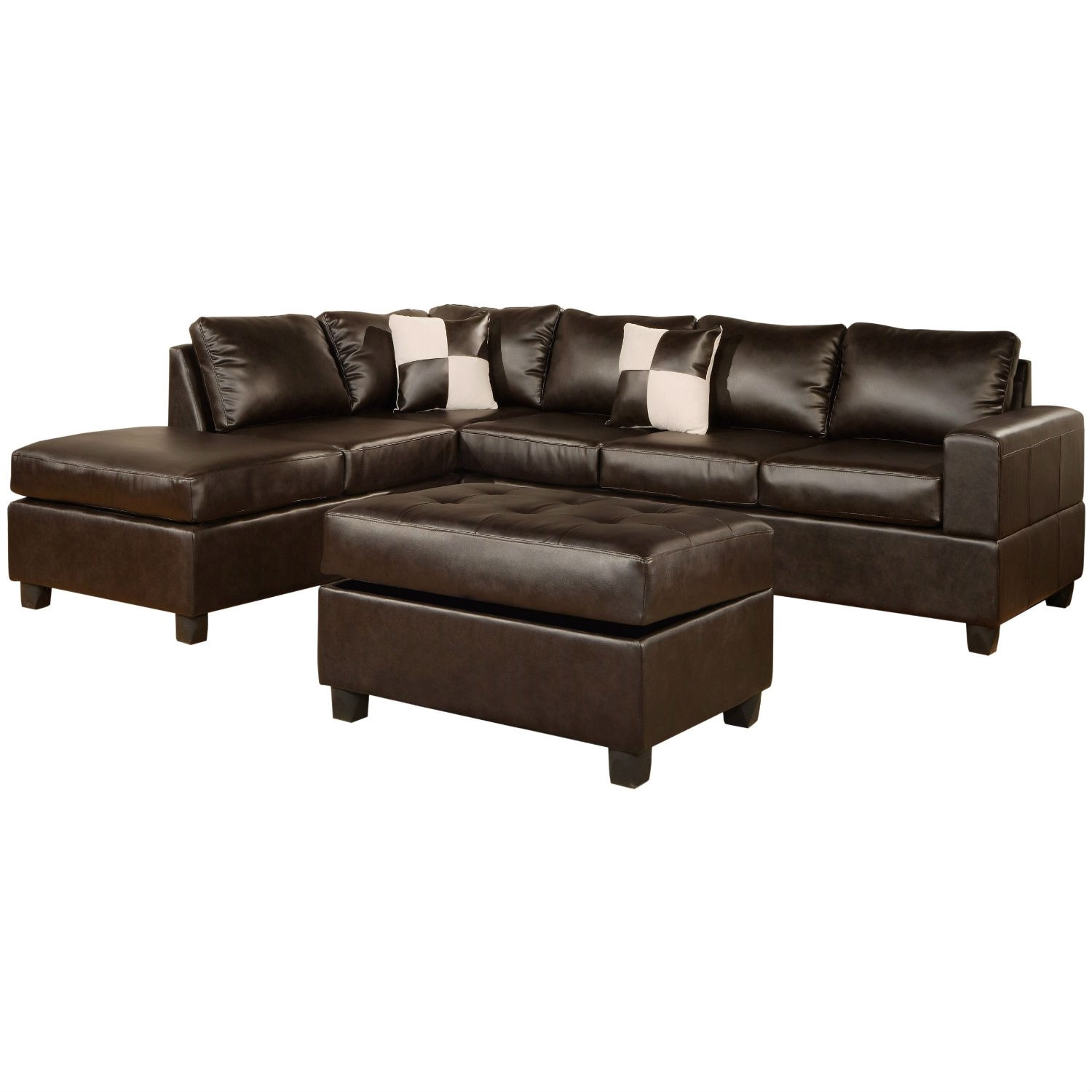 This Reversible Soft Touch Faux Leather 3-Piece Sectional Sofa Set includes: 3-person sofa, L/R-reversible chaise, and 38-inch-by-26-inch storage ottoman. Durable bonded leather and leather match upholstery over hardwood frames.